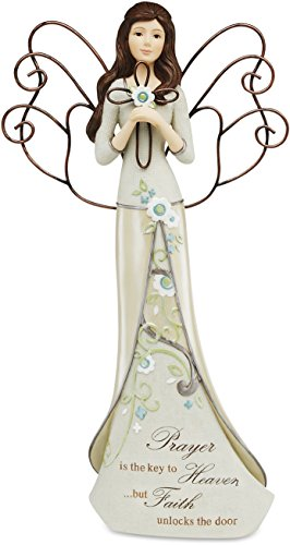Perfectly Paisley Prayer Angel Holding Cross by Pavilion, Reads Prayer is The Key to Heaven…but Faith Unlocks The Door, 12-inches Tall