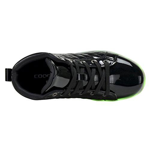 Coodo Kids Jongens Meisjes Led Light Up Shoes Knipperende Sneakers (peuter / Nest Kinderen) 6-fel Zwart