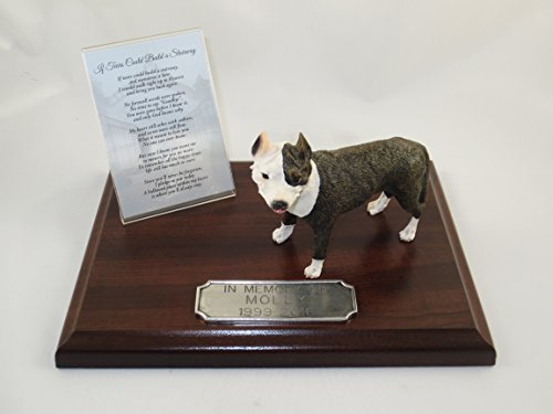 (Beautiful Walnut Finished Personalized Memorial Plaque With Brindle Pit Bull Terrier Figurine)