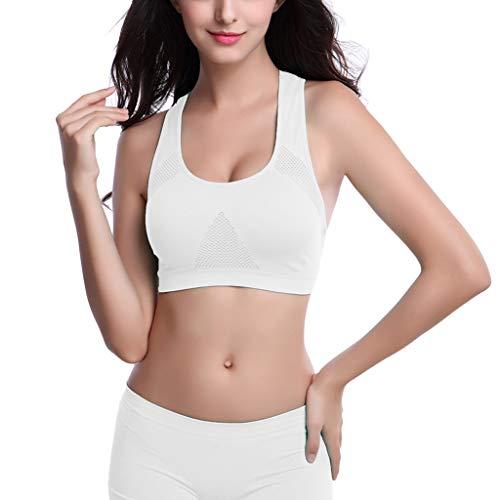 Women Vest Tank Tops Athletic Running Sports Bra Gym Fitness Seamless Padded Shirt Blouse White