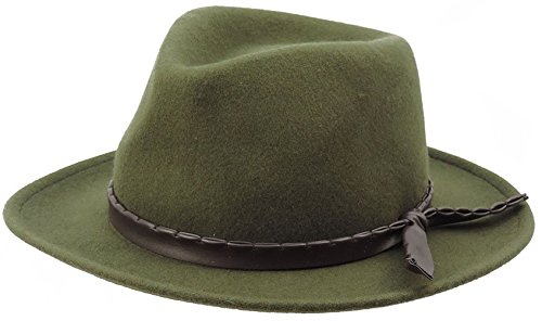 Safari Outback Wool Felt Hat With Faux Leather Hatband Olive One Size …
