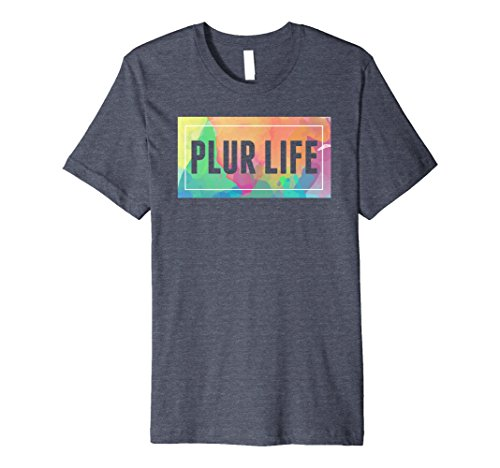 Mens Plur Life EDM Concert T-Shirt Large Heather Blue (T Shirt Plur)