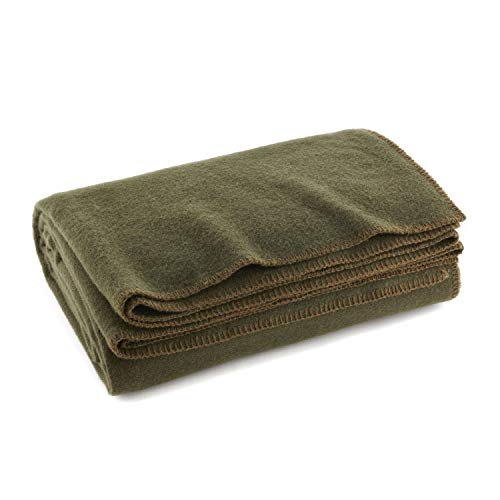 Olive Drab Green Warm Wool Fire Retardent Blanket, 66' x 90' (80% Wool)-US Military
