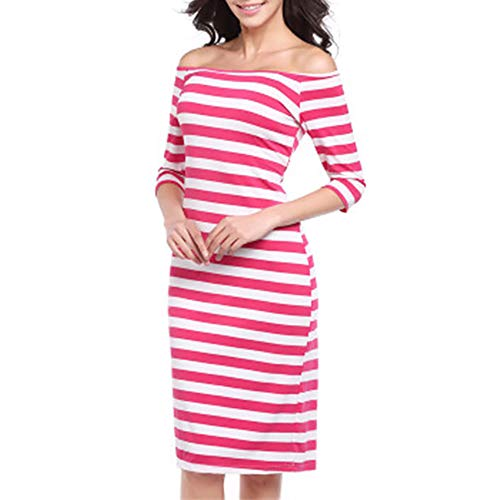 KCatsy Women Sexy Off Shoulder Slim Stripe Package Hip Body Con Half Sleeves Dress (Half Chair A Toronto And)