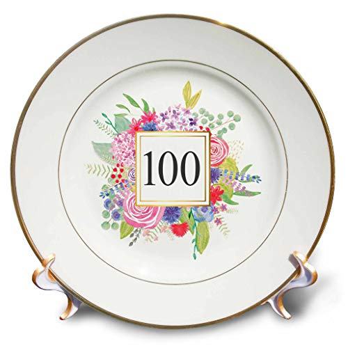 3dRose InspirationzStore - Occasions - Floral Number 100 Celebrating 100 Years Old 100th Birthday Anniversary - 8 inch Porcelain Plate -