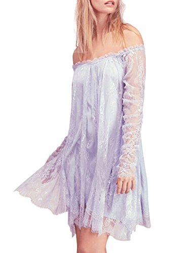 (CA Mode Women Off Shoulder Fairy Angel Cocktail Party Prom Trapeze Mini)