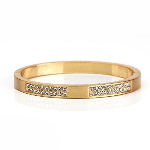United Elegance - Sophisticated Gold Tone Hinged Bangle Bracelet with Brushed Finish and Sparkling Swarovski Style Crystals from United Elegance