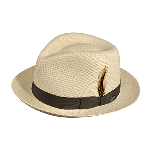 Bailey of Hollywood Men Guthrie Litestraw Fedora Natural/Gunmetal (Guthrie Metal)