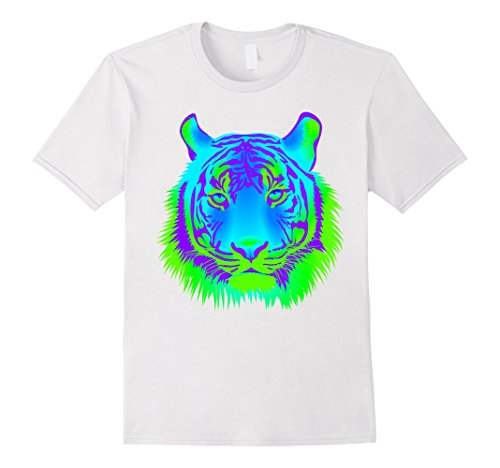Neon Tiger - Mens EDM Electronic Dance Techno Neon Tiger Rave T-Shirt XL White