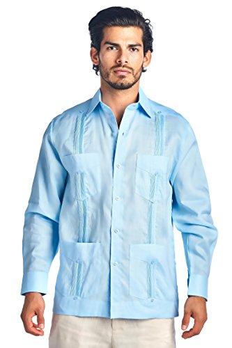 Collection Mojito - Mojito Collection Long Sleeve Poly-Cotton Guayabera (Large, Light Blue)