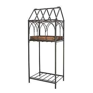 """32,5""""H terrario planta soporte con acabado en cobre dípticas y estante, marco negro"""