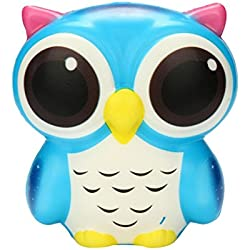 Clearance Sale!DEESEE(TM)Adorable Owl Squishy Slow Rising Cartoon Doll Cream Scented Stress Relief Toy (Blue)