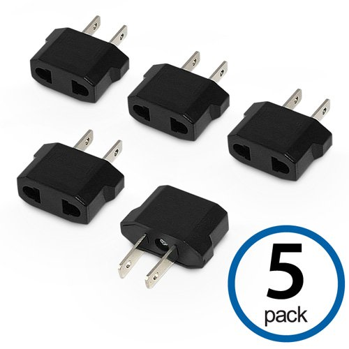 Plug Adapter, BoxWave [European to American Outlet Plug Adapter (5-Pack)] Type F to Type A Socket Converter for (European Socket)