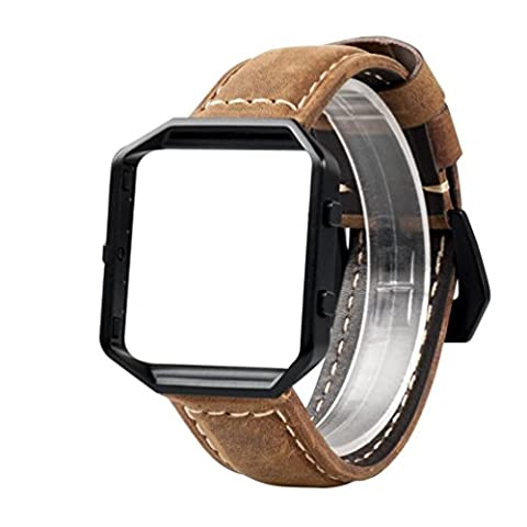 Wearlizer Bands Accessories, Premium Suede Leather Replacement Strap with Black Metal Frame and Buckle for Fitbit Blaze Special Edition Gun Metal - Brown Large