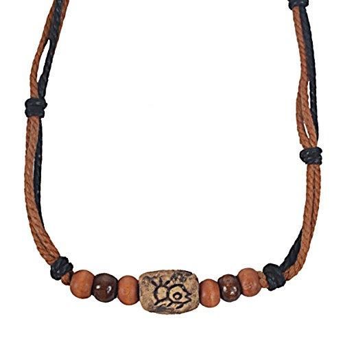 FORBUSITE Men Pendant Bead Surfer Choker Hemp Necklace Stylish Tribal N122 Handmade - Surfer Hemp