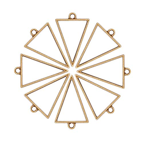 (PH PandaHall 30 Pack 39 x 25mm Antique Bronze Triangle Framework Open Back Bezel Charms Pendant Blanks for UV Resin Crafts Jewelry Making)