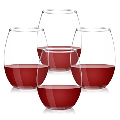 Murano's 15 Ounce Stemless Wine Glass Set, Drinkware, Water Cup, Set of 4 4 Stemless Wine Glasses
