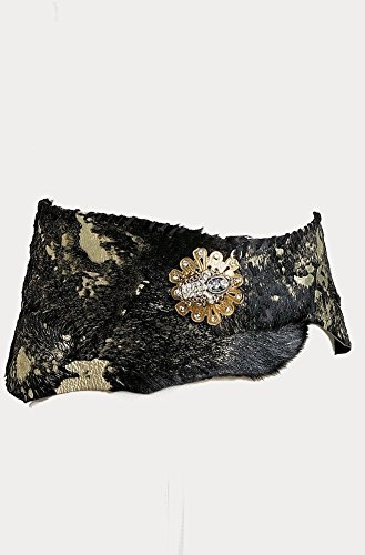 Women Western Handmade Genuine Equisite Sexy Hair on Calf One of a Kind Belt with Handmade Buckle & Gold (Scully Costume)
