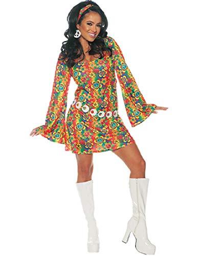 Underwraps Women's 1960s Retro Hippie Costume Dress Set, Multi, X-Large -