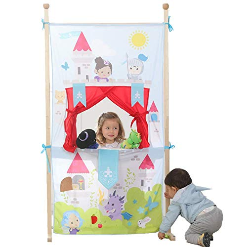 (Kids doorway hand puppet show theaters with 5 Puppets, Space Saver with Adjustable Rod Fits in Most Doorways, Foldable castle puppet Theater dramatic Play gifts with tie-back curtain, Easy to Store)
