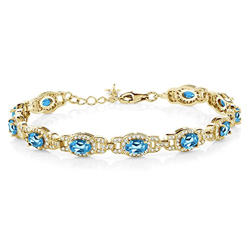 Gem Stone King 9.65 Ct Oval Swiss Blue Topaz 18K Yellow Gold Plated Silver 7 Inch Bracelet With 1 Inch Extender