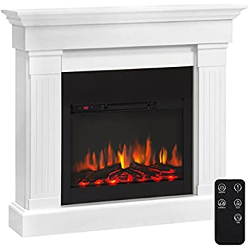 amazon com prokonian electric fireplace with 40 white mantel home rh amazon com Rustic Electric Fireplace with Mantel Big Lots Electric Fireplace White