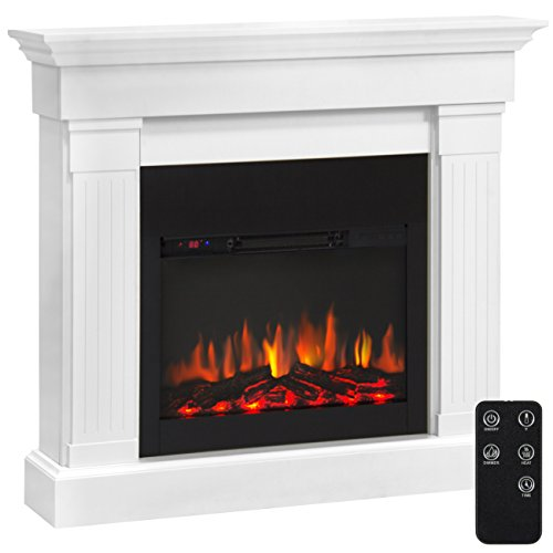 Best Choice Products 4700 BTU Wood Mantel Electric Fireplace W/ Remote Control, Mounting Brackets Included (Fireplace Mantle Electric)