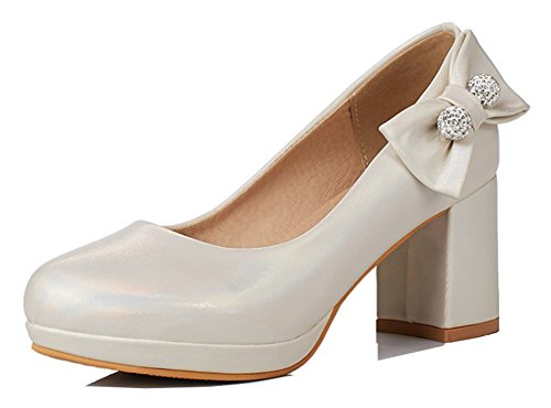 Aisun Womens Rhinestone Dressy Low Cut Round Toe Block High Heel Platform Slip On Pumps Shoes With Bow Beige 5DnA4gE