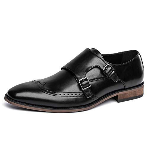 Size 7-14 Men's Black Dress Shoes Double Monk Strap Buckle Slip on Loafer Wingtip Toe Oxford Dress Shoes for Men