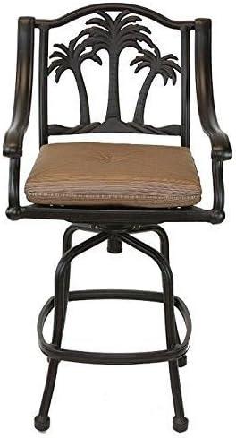 Palm Tree Outdoor Patio Set 8pc Swivel Barstools 30 H Dark Bronze Cast Aluminum, Walnut Cushions