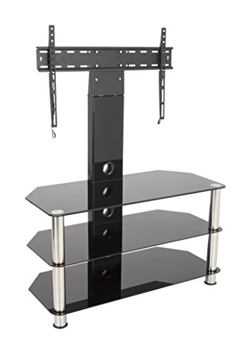 AVF SDCL900-A  Stand with TV Mount for TVs up to 60-inch, Black Glass, Chrome Legs