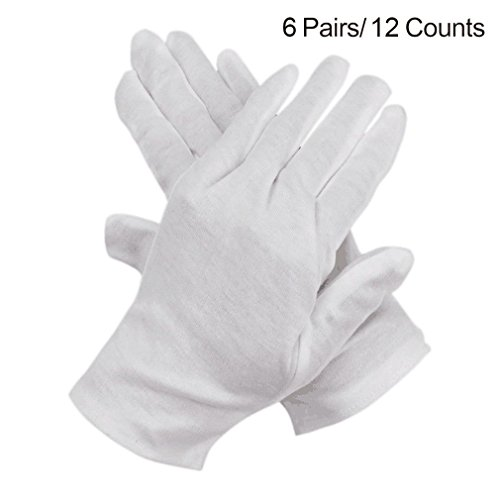 iLoveCos Cotton Gloves for Eczema White Coin Jewelry Inspection Lisle Gloves 6 Pairs (12 Gloves) (White Gloves Kids)