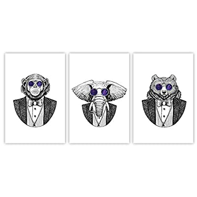 Created Just For You, Elegant Piece, 3 Panel Animal Cartoon Artwork Mr Gorilla Mr Elephant and Mr Bear with Cool Glasses x 3 Panels