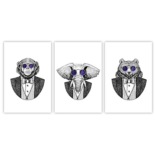 3 Panel Animal Cartoon Artwork Mr Gorilla Mr Elephant and Mr Bear with Cool Glasses x 3 Panels