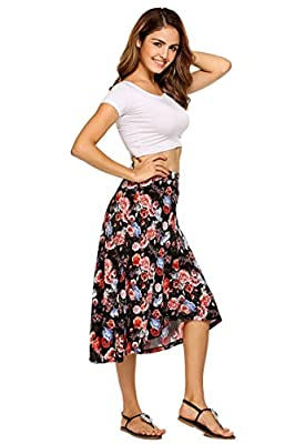 Women's Floral Printed A-Line Skirt Flare Midi Wrap Skirts