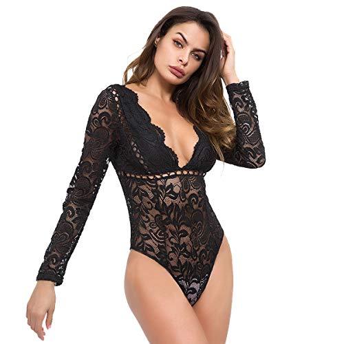V Manica Body Mashikou Nero Lunga bianca Camicie Abbigliamento Collo Sexy Bodysuit Donna Pizzo Estivi Tuta Blusa Top wpBn0pqX