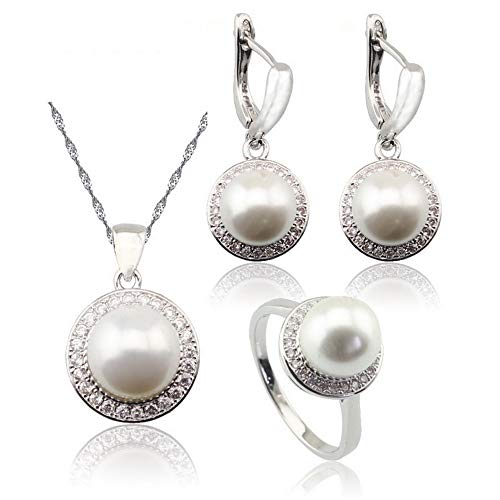 Aixili Round White Pearl Bridal Jewelry Set for Women Silver Color Necklace Pendant Drop Earrings -