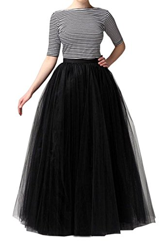 Omelas Women Long Maxi Tulle Skirt A-line Tutu Full Length Skirts (Black, S)