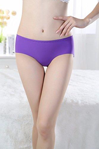 Señoras Ropa Interior Calzoncillos Pantalones T Seda Ropa Interior Sin Costuras,F,El Cielo Es Azul Violet
