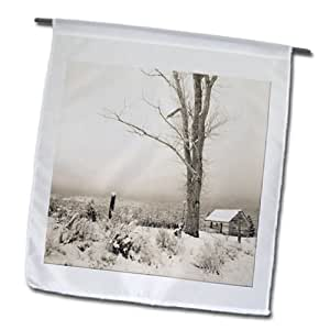 Jos Fauxtographee Sepia - An old building in a snow covered field behind a fence - 12 x 18 inch Garden Flag (fl_99809_1)