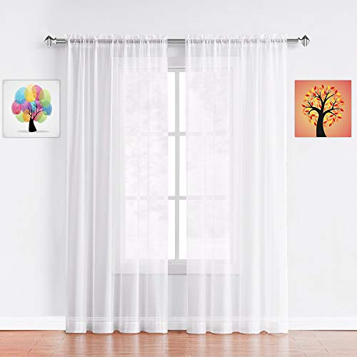 Warm Home Designs Pair of Extra Long White Sheer Window Curtains. Each Voile Drape is 56 X 108 Inches in Size. Great for Kitchen, Living or Kids Room. 2 Fabric Panels Included. AM White 108