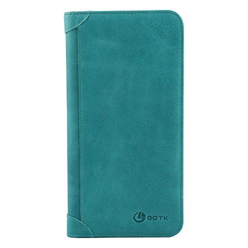 Women's Wallet - Genuine Italian Leather Long Bifold RFID Blocking Wallet (Sky Blue) by GDTK