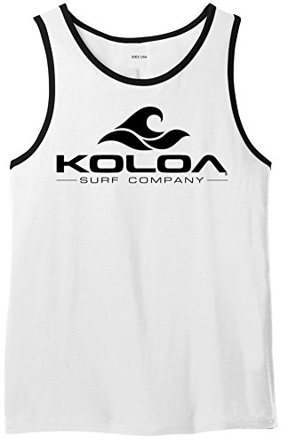 Koloa Surf Classic Wave Logo Heavyweight Cotton Tank Top-WhiteBlackRinger/b-M