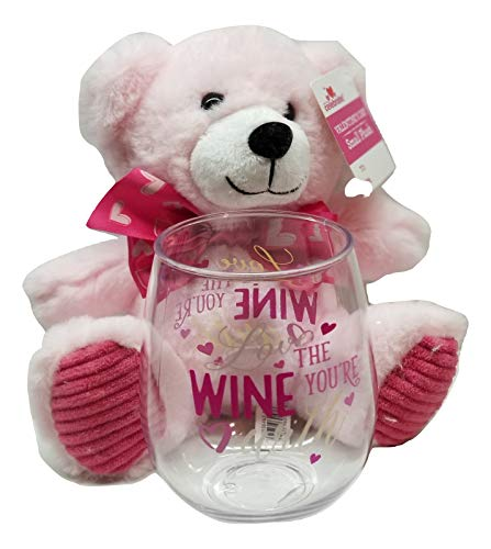 Love the Wine You're With Wine Glass with Pink 8