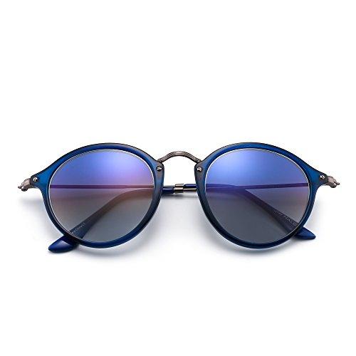 Azul Pequeño Redondas Retro Gradiente Azul Mujer Gafas Lentes Polarizadas Espejo de de Hombre Sol Circulo Tintado xA4HqaT