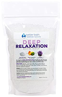 Deep Relaxation Bath Soak Epsom Salt With Lavender Essential Oils & Vitamin C - 100% All Natural No Perfumes & Dyes - Relieve Tension & Stress Naturally