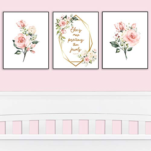 Girl's Room Decor - She is More Precious Than Jewels | Decorative & Easy to Frame Prints 8x10-inch | 3 - (UNFRAMED) Prints | Floral Wall Art for Baby Girl Nursery or Girl's Bedroom ()