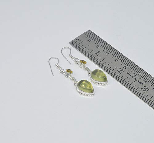 925 SILVER PLATED FACETED CITRINE AND YELLOW LEMON QUARTZ HOOK EARRING
