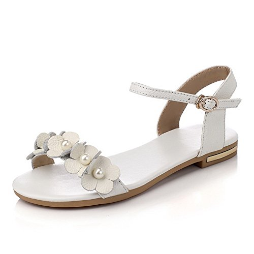 Allhqfashion Dames Massief Leer Handgemaakt Geen Hiel Open Teen Gesp-sandalen Wit