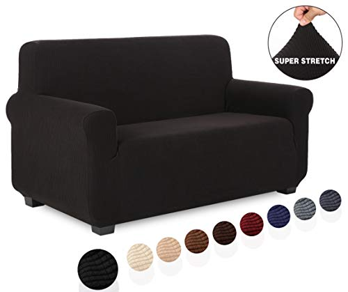 TIANSHU Loveseat Slipcover Furniture Protector, Non Slip 2 Cushion Couch Covers for Dogs, Soft/Durable/Stay in Place Sofa Cover (Loveseat, Black)
